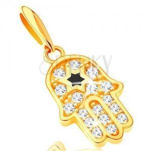 Zawieszka z żółtego 14K złota - symbol Hamsa z przezroczystymi cyrkoniami i czarną gwiazdą obraz