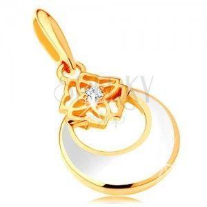 Złota zawieszka 585 - koło z wycięciem i białą emalią, ornament, cyrkonia obraz