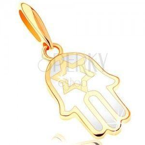 Złota zawieszka 585 - ręka Fatimy pokryta emalią białego koloru, gwiazda obraz