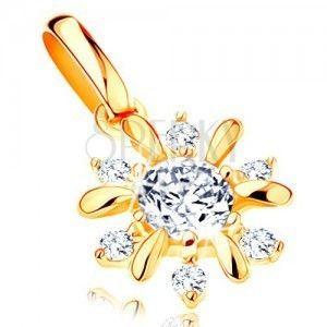 Zawieszka z żółtego 14K złota - błyszczący kwiatek, gładkie i cyrkoniowe płatki obraz