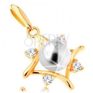 Zawieszka z żółtego 14K złota - kontur rombu, przezroczyste cyrkonie, biała perła obraz