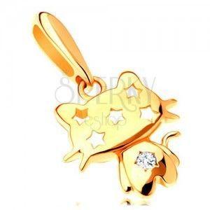 Zawieszka z żółtego 14K złota - błyszczący kotek, przezroczysta cyrkonia, gwiazdy obraz