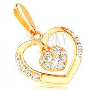 Zawieszka z żółtego 14K złota - kontur serca z małym cyrkoniowym serduszkiem obraz