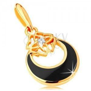 Złota zawieszka 585 - kółko z wycięciem i czarną emalią, ornament, cyrkonia obraz