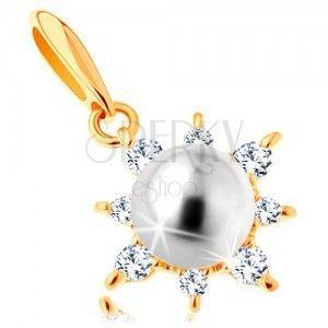 Zawieszka z żółtego 14K złota - połyskliwe słoneczko, okrągła perła białego koloru obraz