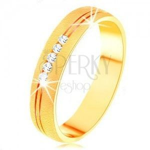 Pierścionek z żółtego 14K złota o satynowej powierzchni, podwójne nacięcie, przezroczyste cyrkonie obraz
