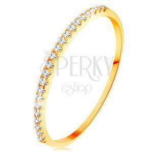 Złoty pierścionek 585 - cienkie lśniące ramiona, błyszcząca cyrkoniowa linia bezbarwnego koloru obraz