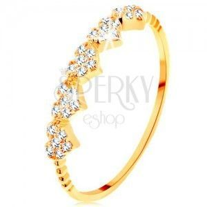 Pierścionek z żółtego 14K złota - małe błyszczące serduszka, kuleczki na ramionach obraz