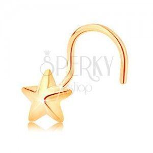 Zagięty złoty piercing 585 - pięcioramienna wypukła gwiazdeczka o lśniącej powierzchni obraz