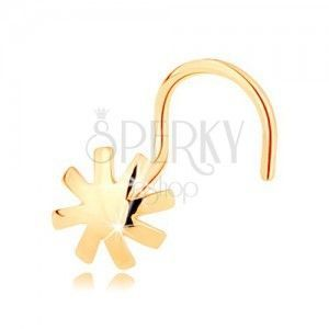 Piercing do nosa z żółtego 14K złota - wypukły kwiatek, lśniąca gładka powierzchnia obraz