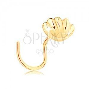 Zagięty złoty piercing do nosa 585 - lśniąca morska muszla obraz
