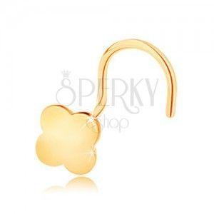 Zagięty piercing do nosa z żółtego 14K złota - mała czterolistna koniczynka na szczęście obraz