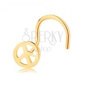 Złoty piercing 585, zagięty - okrągły symbol pokoju, lśniąca powierzchnia obraz