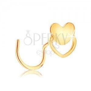 Złoty zagięty piercing do nosa 585 - małe płaskie serduszko obraz