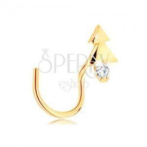 Zagięty złoty piercing do nosa 585 - lśniące drzewko z przezroczystą cyrkonią obraz