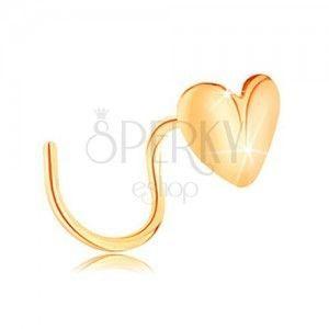 Złoty piercing do nosa 585, zagięty - lśniące serduszko, wygięte w środku obraz