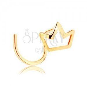 Piercing do nosa z żółtego 14K złota - kontur małej błyszczącej korony obraz