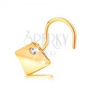 Piercing do nosa z żółtego 14K złota - wypukły kwadrat z przezroczystą cyrkonią obraz