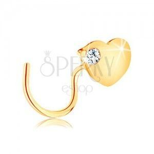 Zagięty piercing do nosa z żółtego 14K złota - płaskie serce z cyrkonią obraz