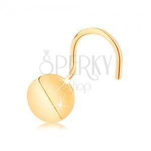 Złoty piercing do nosa 585, zagięty - lśniące koło, wygięte pośrodku obraz