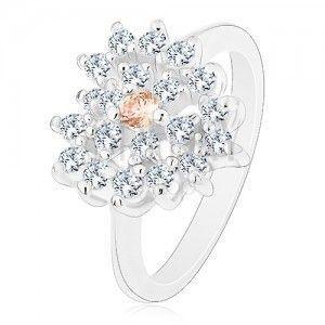 Pierścionek w srebrnym odcieniu, przezroczyste cyrkoniowe serce z pomarańczowym środkiem obraz