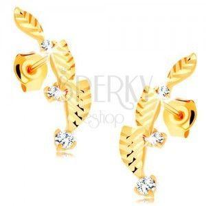 Złote kolczyki 585 - trzy listki ozdobione diamentowym cięciem, cyrkonie obraz