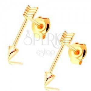 Złote kolczyki z zapięciem na sztyft - lśniące cienkie strzałki obraz