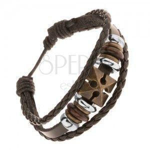Brązowa regulowana bransoletka ze sztucznej skóry, krzyż, koraliki z drewna i stali obraz
