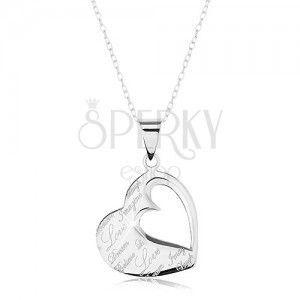 Naszyjnik ze srebra 925, zawieszka - płaskie serce z wycięciem i napisami obraz