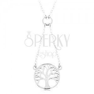 Naszyjnik ze srebra 925, łańcuszek i zawieszka - lśniące drzewo życia w kółku obraz