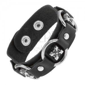 Bransoletka z czarnej sztucznej skóry, lśniące stalowe kółka, ozdobne krzyże obraz