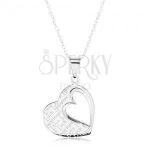 Srebrny naszyjnik 925, zawieszka - płaskie serce z wycięciem i napisami obraz