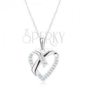 Srebrny naszyjnik 925, łańcuszek i zawieszka - cyrkoniowy kontur serca obraz