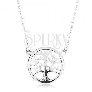 Srebrny naszyjnik 925, łańcuszek i zawieszka - lśniące drzewo życia w kółku obraz