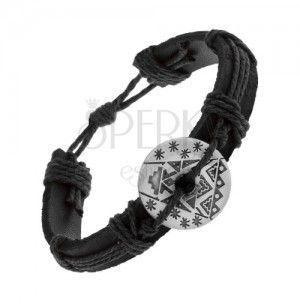 Czarna bransoletka z syntetycznej skóry i sznurków, okrąg z wycięciem i wzorem obraz