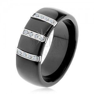 Czarny ceramiczny pierścionek o gładkiej powierzchni, trzy stalowe pasy z cyrkoniami obraz