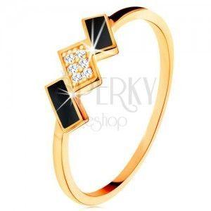 Złoty pierścionek 585 - prostokąty ozdobione czarną emalią i cyrkoniami obraz