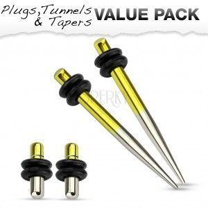 Zestaw czterech stalowych piercingów do ucha, żółty i srebrny kolor obraz