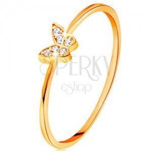 Złoty pierścionek 585 - motylek ozdobiony okrągłymi przezroczystymi cyrkoniami obraz