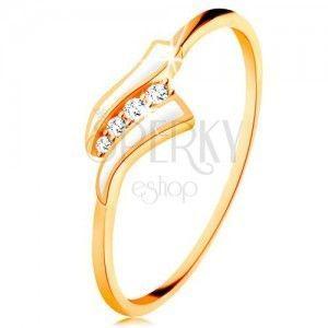 Złoty pierścionek 585 - dwie białe fale, pas przezroczystych cyrkonii, lśniące ramiona obraz