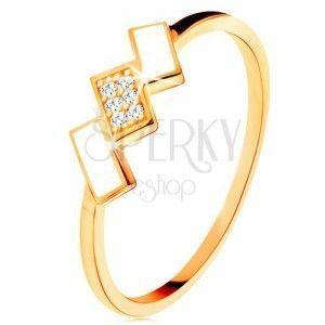 Złoty pierścionek 585 - ukośne prostokąty pokryte białą emalią i cyrkoniami obraz