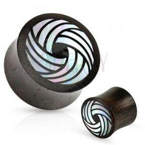 Czarny drewniany plug, siodłowy, zagięte linie z perły białego koloru obraz