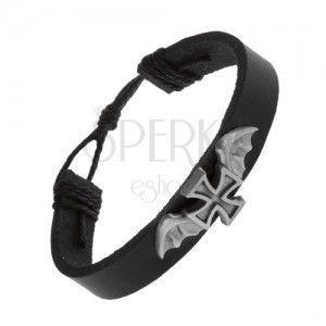 Skórzana bransoletka czarnego koloru, maltański krzyż ze skrzydłami nietoperza obraz