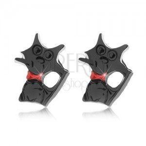 Kolczyki wkręty, lśniący czarny kotek z czerwoną obrożą obraz