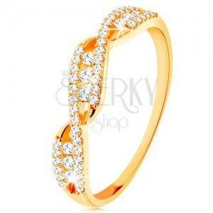 Złoty pierścionek 585 - przeplecione faliste ramiona, okrągłe bezbarwne cyrkonie obraz