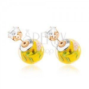 Dwustronne kolczyki, przejrzysta kuleczka z żółtym środkiem, cyrkonia obraz