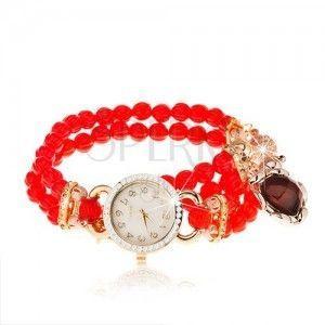 Zegarek na rękę, bransoletka z czerwonych koralików, serduszko, cyferblat z cyrkoniami obraz