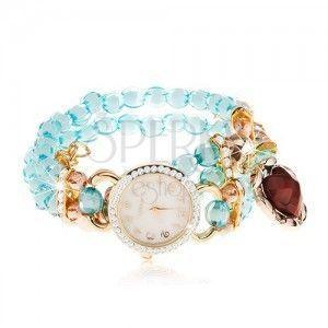 Zegarek z przejrzystych niebieskich koralików, cyferblat z cyrkoniami, czerwone serce obraz