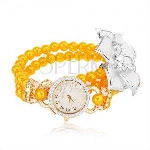 Zegarek z bransoletką z żółtych koralików, biały kwiat, cyferblat z cyrkoniami obraz