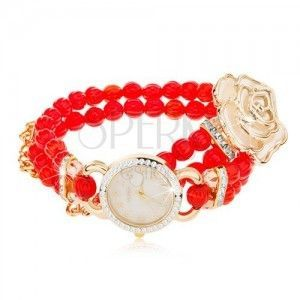 Zegarek analogowy, bransoletka z czerwonych koralików, cyferblat z cyrkoniami, biała róża obraz